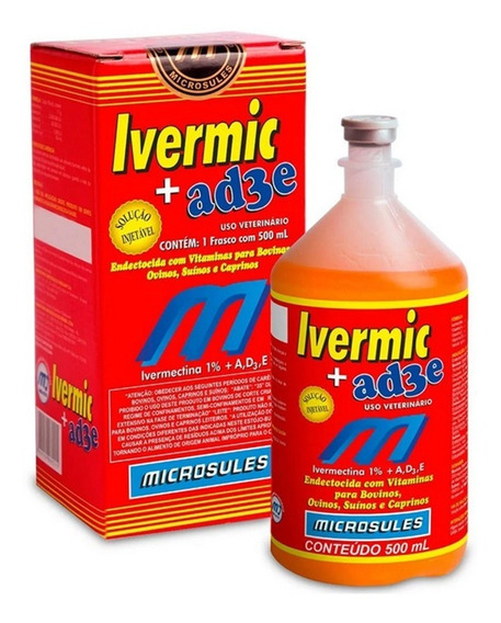 Ivermectina 1% + Vitaminas A,d3,e (ivermic) Microsules 500ml