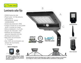 Lámpara Solar 400 Lumen Exterior Sensor De Movimiento 2814