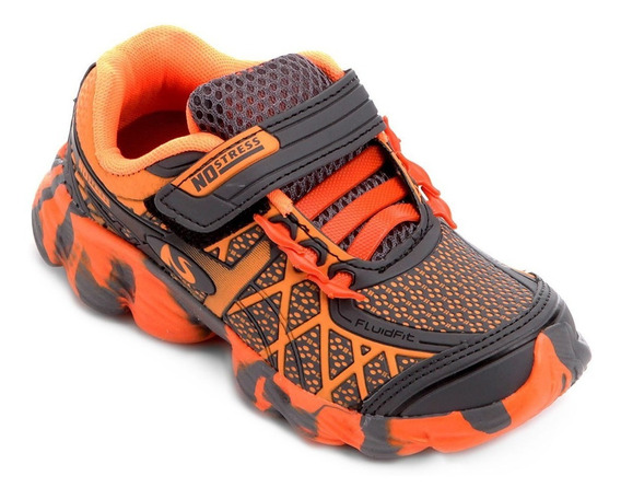 Tênis Infantil Masculino Running Com Velcro Grafite-laranja