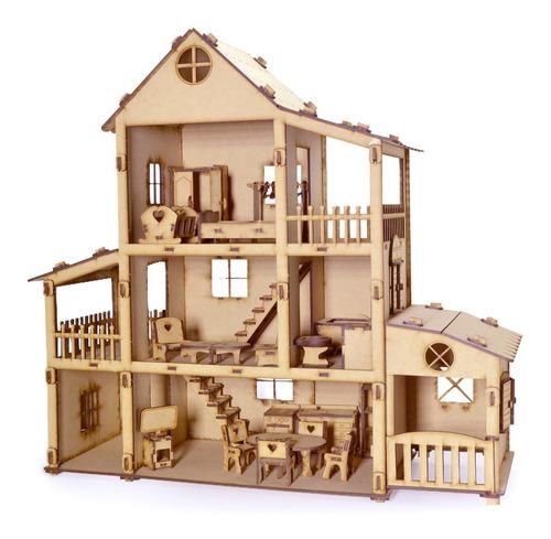 Casa Casita De Muñecas Fibrofacil + 36 Muebles