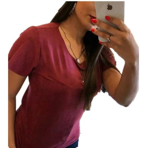 Blusa Camiseta Suede Feminina Camisa Novo