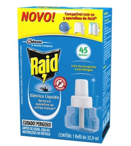 Kit C/24 Repelentes Elétricos Raid 45 Noites Refil Líquido