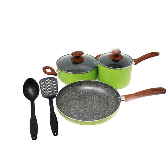 Batería De Cocina 7 Piezas Element Stone Verde Lamex 6537-1