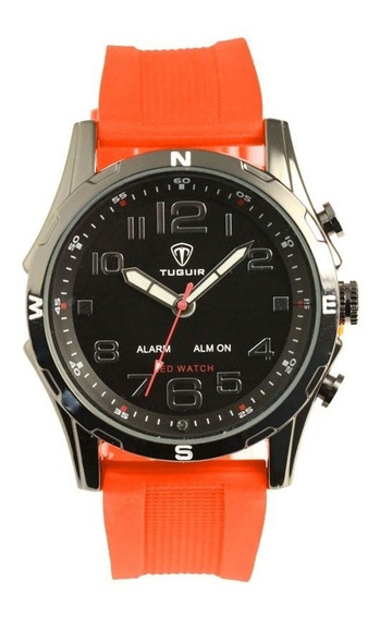 Relógio Masculino Tuguir Anadigi Tg2137 - Laranja E Preto