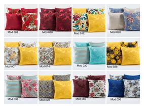 Kit Com 4 Capas Para Almofadas Decorativas De Sofá Coloridas