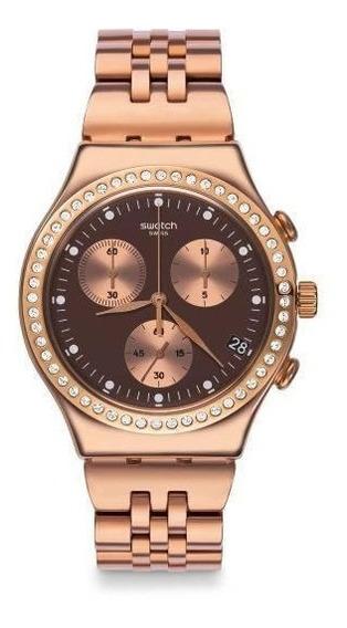 Relógio Swatch Precious Ycg414g Aço Rosé Preto Original