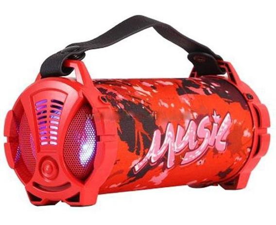 Caixa De Som Bluetooth 6w Sd Usb Fm Vermelho*