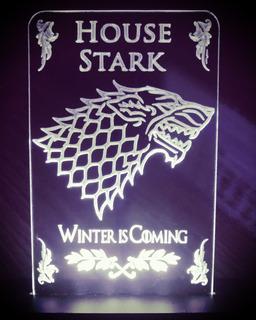 Luminária Stark House + Chaveiro, Game Of Thrones Got