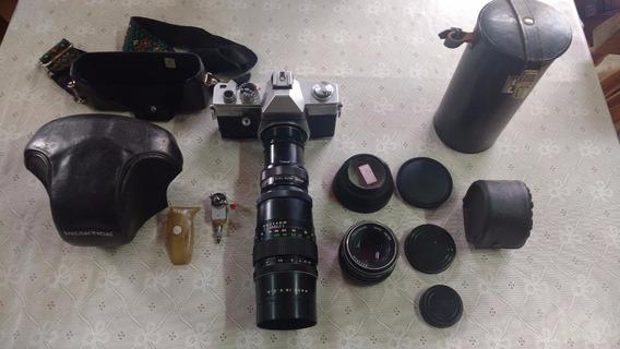 Camera Antiga Alemã Praktica Tl3 Teleobjetiva Pentacon Kit