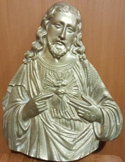 Sagrado Corazón De Jesús De Bronce 32cm Alto X 26cm Ancho