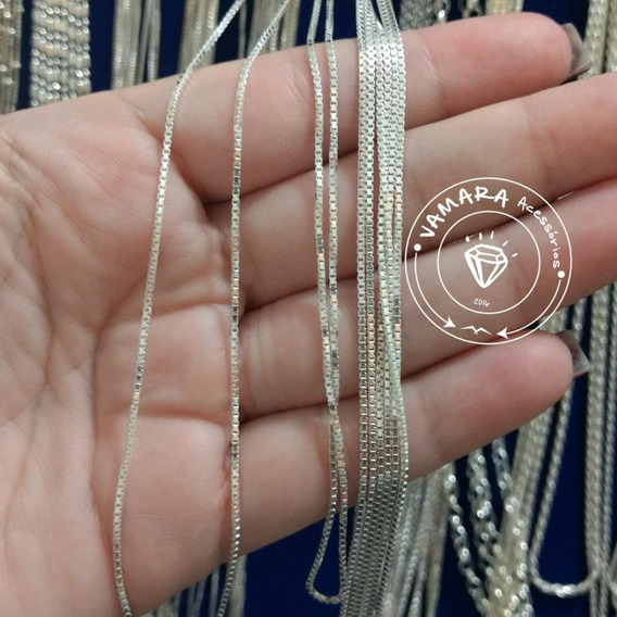 Corrente Veneziana Média Prata 925 Clara 45cm