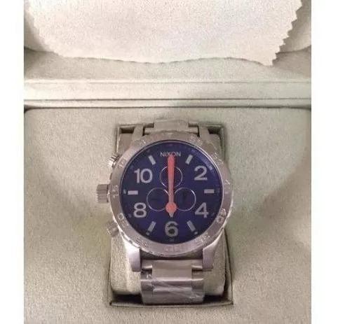 Relogio Rrf8547 Nixon Chrono 51-30 Original Prata E Azul Top