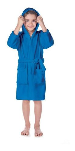 Roupão Flannel Fleece Com Capuz Infantil Azul