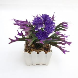 Flores Con Macetera Artificial 19 Cm Violeta M6 #90320