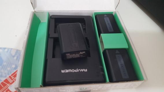 Kit Carregador Usb Ravpower + Três Baterias Npfw50 Para Sony