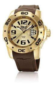 Relógio Everlast E530 Caixa Aço Dourado E Pulseira Silicone