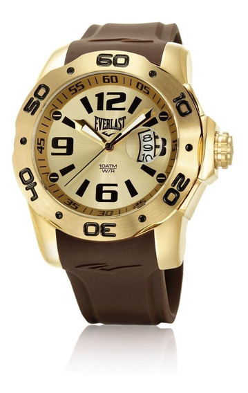 Relógio Pulso Everlast Masculino Calendário Marrom E530