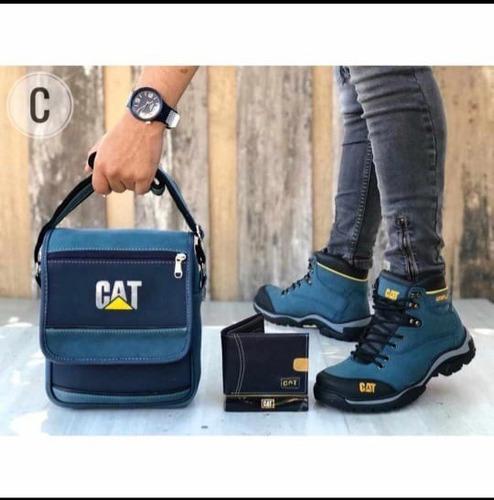 Zapatos Hombre,botas Caballero+bolso+billetera,trio
