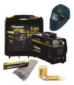 Maquina Solda Inversora 140a Nitro Bivolt Titanium 140 + Kit