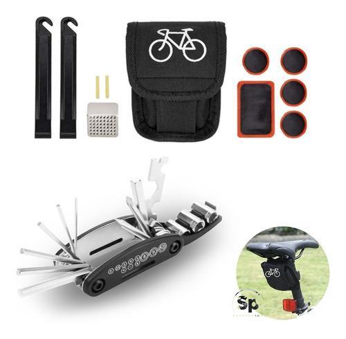 Imagen 1 de 5 de Kit De Herramientas Reparacion De Bicicleta Parches Llaves