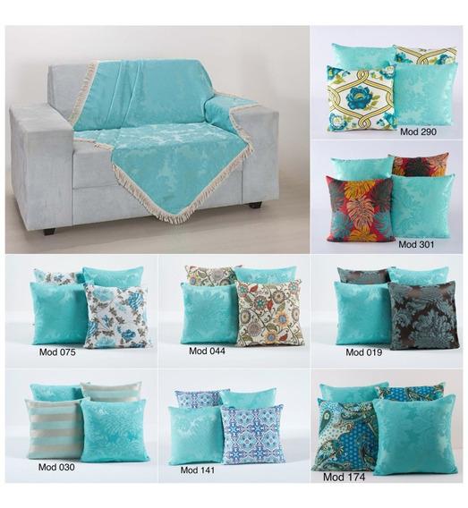 Kit 4 Almofadas Cheias E Manta Xale Para Sofá Azul Tiffany