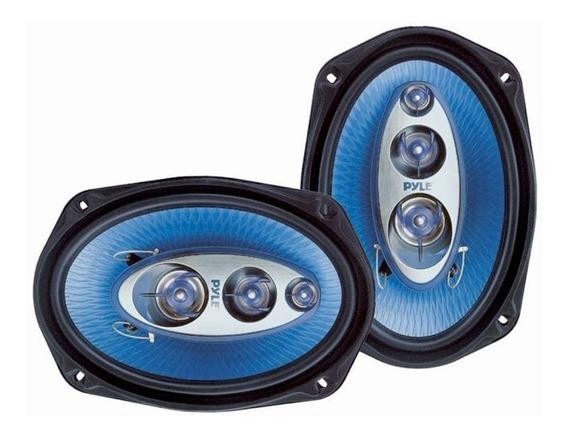 Parlantes Pyle 6x9 4 Vías 200w Con Rejas Rms Cono Azul