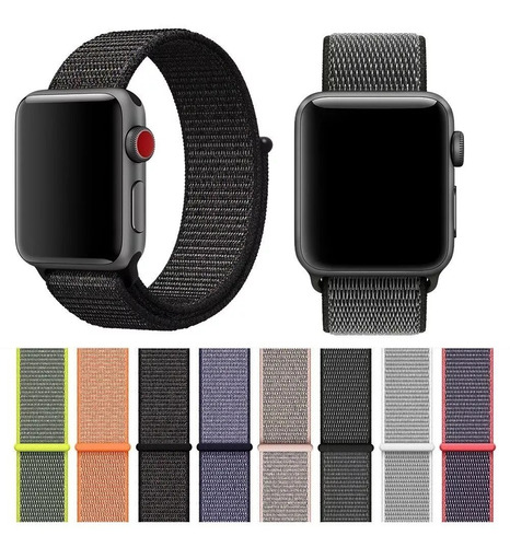 Pulseira Nylon Loop Velcro Compatível Com Apple Watch  E Iwo