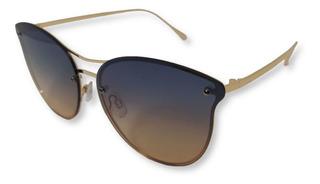 Óculos Feminino De Sol De Lente Inteira Degradê Azul Rosê