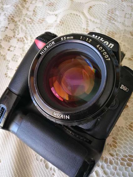 Camera Nikon D90 Com Grip Md80 E Lente 55mm 1:1.2