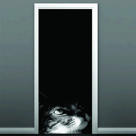 Adesivo Porta De Quarto Gato Preto