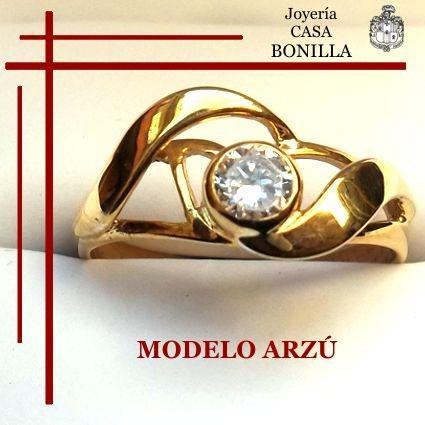 Anillo Compromiso Oro Amarillo Macizo 18k Diamante Grafito
