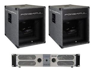 Bafle Grave (x2) Woofer 18 2400w+ Amplificador Kca1400 Combo