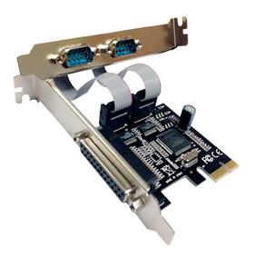 Placa Pci-e Express Com 2 Portas Serial Db9 Rs232, Paralela