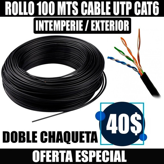 Rollo 100 Mts Cable Utp Intemperie Outdoor Cat6 Redes