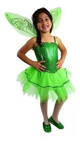 Fantasia Vestido Fada Sininho Tinker Bell Infantil Com Asas