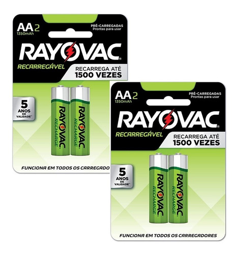 18 Pilhas Recarregáveis Rayovac Aa (pequena) 1350 Mah