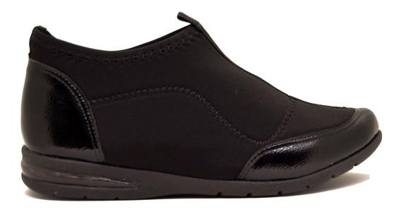 Zapatillas Botitas Mujer Lycra Soft Negro Suela Aire Comfortflex