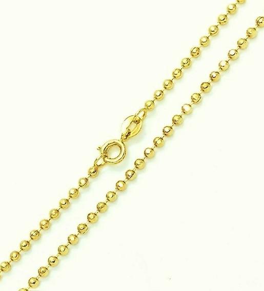 Corrente Cordão De Bolinhas 50cm Banho De Ouro 18k 3170