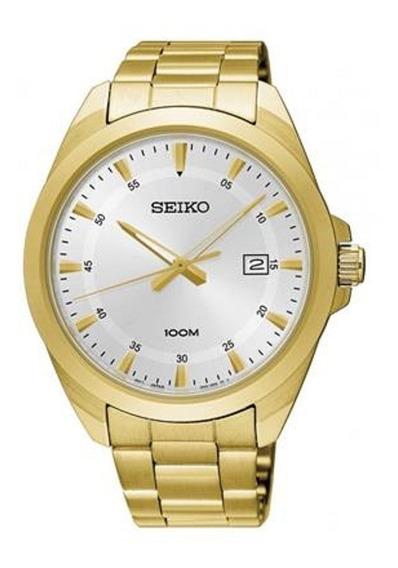 Relógio Seiko Masculino Dourado Original C/ Nf Sur212b1 S1kx