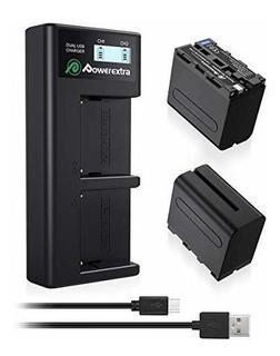 Cargador Y 2 Baterias Reemplazo Sony Np-f970 Dual Lcd Inteli