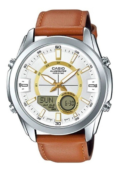 Relógio Masculino Casio World Time Amw-810l-5avdf - Prata