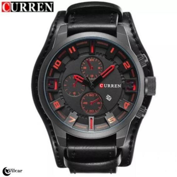 Relógio Masculino Curren 8225 Pulseira Em Couro - Pto/vrm