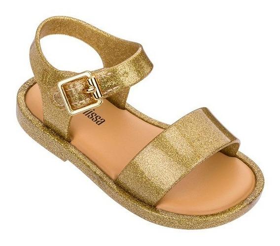 Sandalias Nena Mini Melissa Mar Sandal Iii Dorada Glitter
