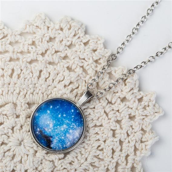 Colar Lua Universo Galáxia Nebulosa Modelo 30 E Brinde