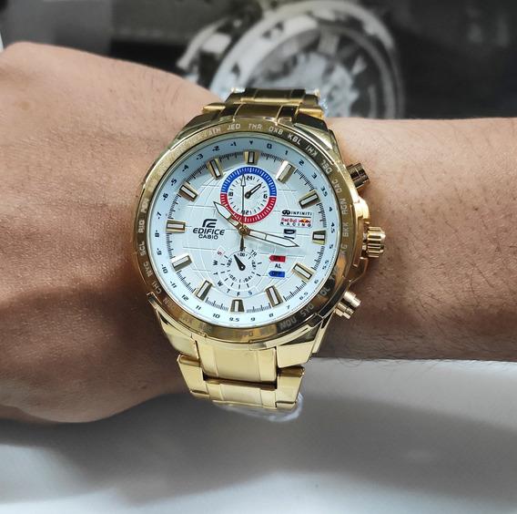 Relógio Masculino Dourado Em Aço Aprova D Água Super Barato!