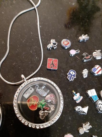 Cordão Relicário Tipo Life Secrets + 20 Mini Charms