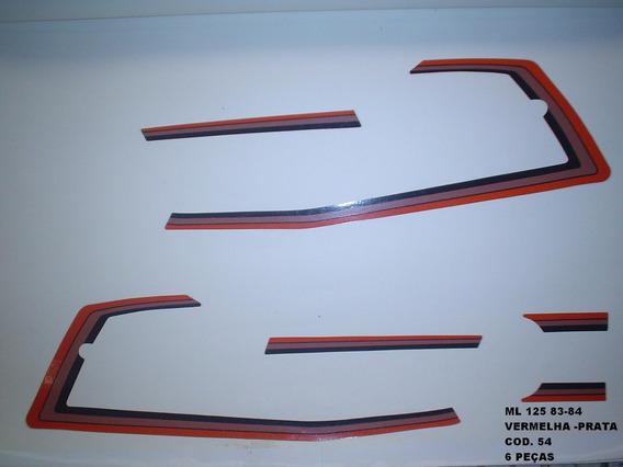 Kit Adesivos Cg 125 Ml 83/84 - Moto Cor Verm./prata - Kit 54