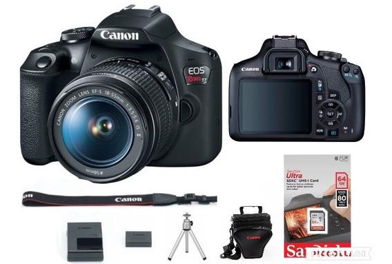 Câmera Canon Rebel Eos T7 C/18-55mm Is Il+bolsa+sd64g+tripé