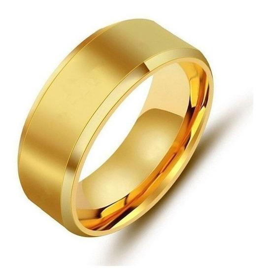 Anel Feminino Aço Dourado 6mm Estiloso Top - Melhor Preço