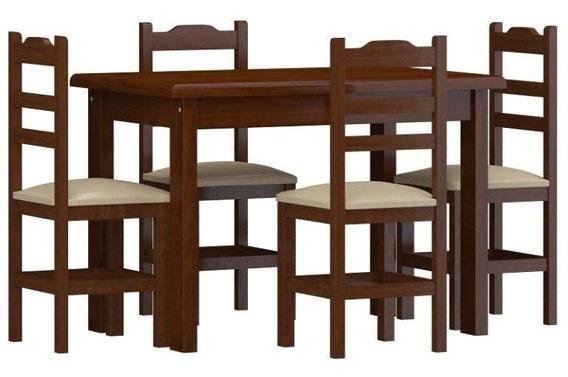 Conjunto De Mesa Pérola C/ 4 Cadeiras Estofadas Castanho